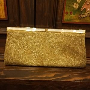 vintage gold beaded clutch